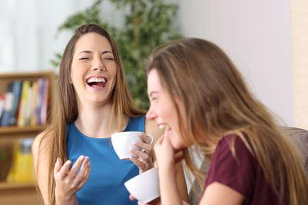 Retrato de dos amigos riendo juntos en voz alta durante una conversación sentado en un sofá en la sala de estar en casa