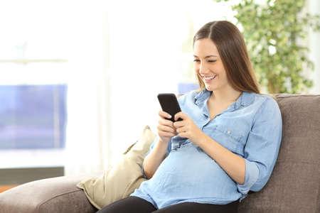 Těhotná žena textování s chytrý telefon sedí na gauči v obývacím pokoji v interiéru domu Reklamní fotografie - 71232707