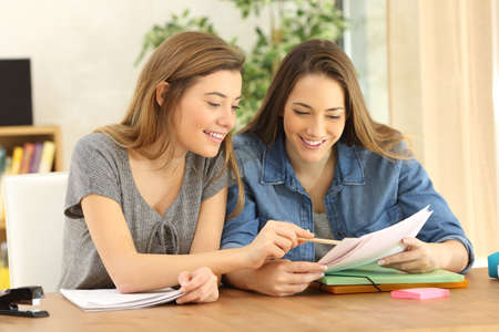 Twee studenten die thuiswerk samen doen en elkaar helpen die in een lijst thuis met een huiselijke achtergrond zitten