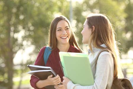 ウォーキングと暖かい光で夕暮れ時お互いのキャンパスで話す 2 つの幸せな学生