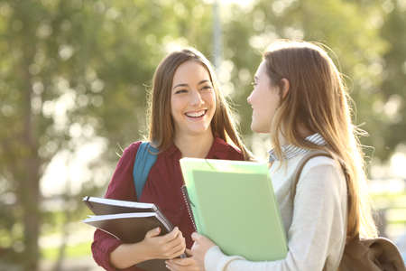 Two happy students walking and talking each other in a campus at sunset with a warm light Stock Photo