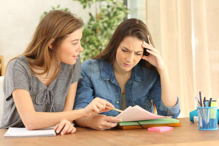 Student studying and teaching to her classmate in the living room at home Stock Photo