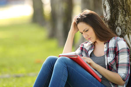 Un étudiant unique attirant des notes de mémorisation à l'extérieur assis sur l'herbe dans un parc