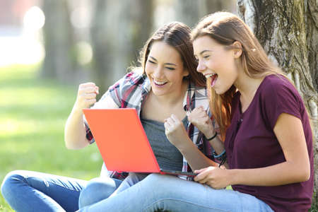 Excited teens receiving good news on line sitting on the grass in a park