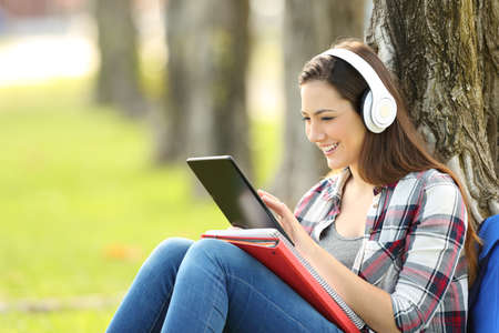 Single student studying listening on line lessons sitting on the grass in a park with a green background Foto de archivo - 83043405