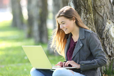 Single happy teen writing on line in a laptop sitting on the grass in a park