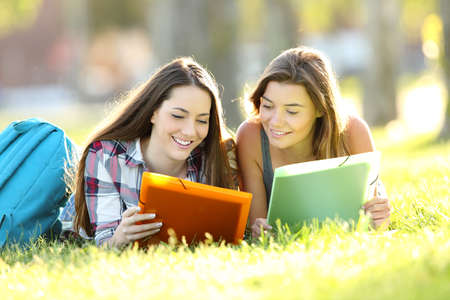 Front view of two happy students studying reading notes together lying on the grass in a park