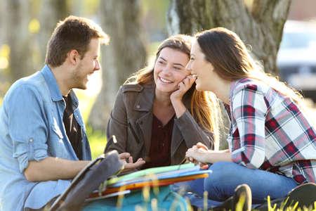 公園の外の芝生の上に座ってのクラス後の話 3 つの幸せな学生