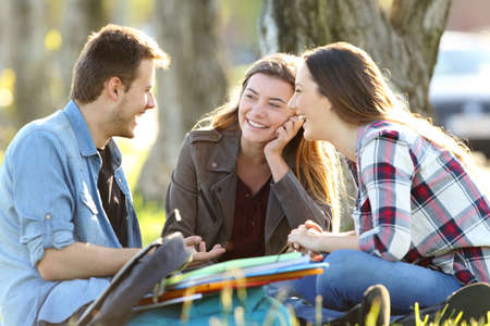 Three happy students talking after classes sitting on the grass outside in a park
