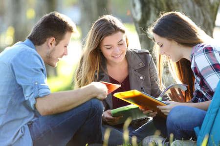 Drie studenten die het lezen van nota's bestuderen die samen in openlucht op het gras zitten