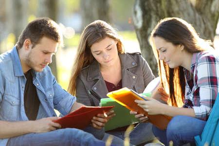 3 留学生暖かい光と公園の草の上に座って暗記ノート 写真素材