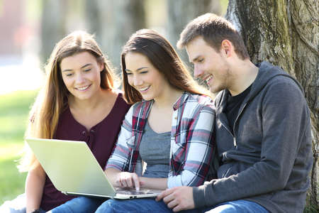 software portability: Three happy teenagers searching media content together on line with a laptop sitting on the grass in a park
