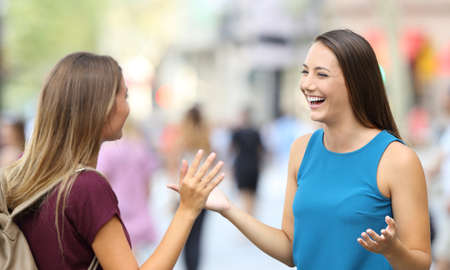 Two happy friends greeting and meeting on the street