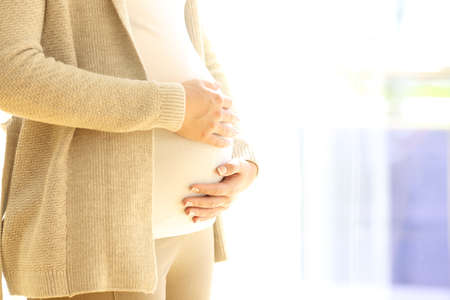 Close up of a pregnant woman holding belly near a window at home