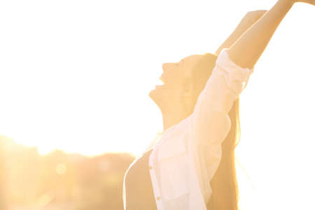 Side view portrait of an excited woman raising arms at sunset