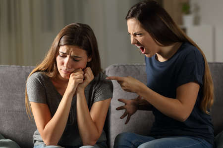 Angry woman scolding her sad friend sitting on a couch in the living room at home Stock Photo - 102851919