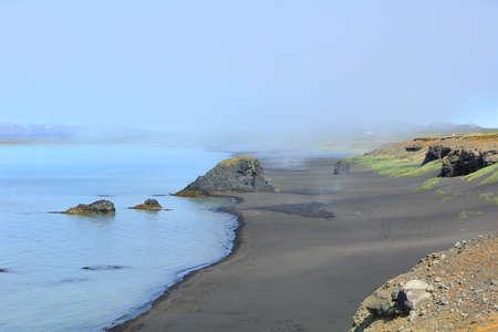 Iceland black sand beach landscape Stock Photo