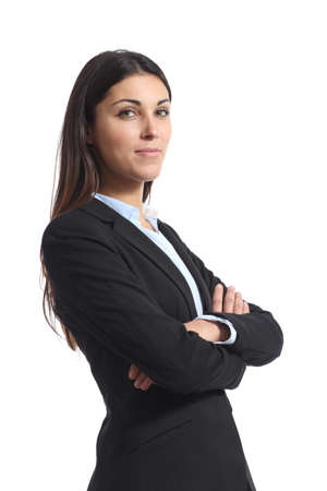 Portrait of a confident businesswoman posing isolated on white background