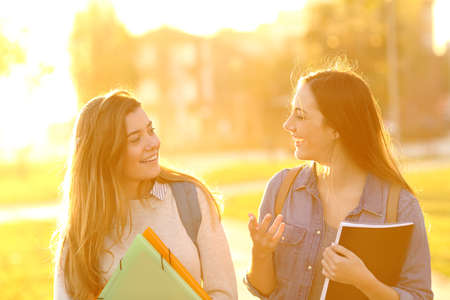 Front view portrait of two happy students walking and talking at sunset in a park Stock Photo
