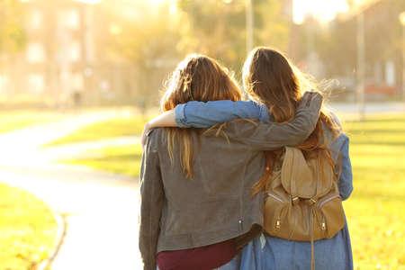Rückansicht Porträt von zwei liebevollen Freunden, die bei Sonnenuntergang in einem Park spazieren gehen Standard-Bild
