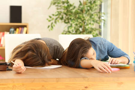 Two tired students sleeping on notebooks on a desk at home