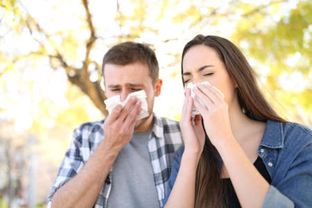 Sick couple sneezing together covering mouth with wipes in a park Foto de archivo