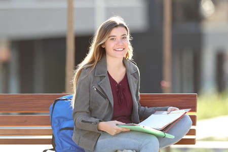 Happy student looking at camera sitting on a bench in a park Stock Photo
