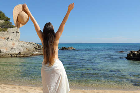 Back view portrait of a happy tourist raising arms celebrating summer holiday on the beach