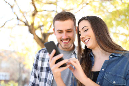 Happy couple in a park using a smart phone checking online content Stock Photo