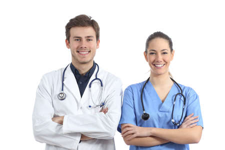 Front view portrait of two medicine students isolated on white background looking at camera