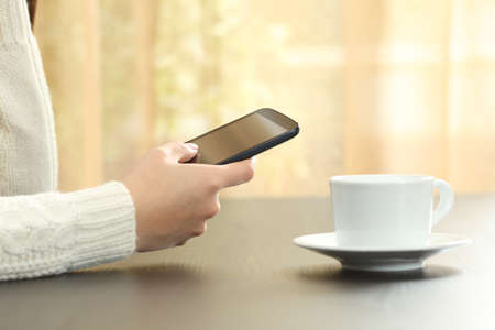 Close up of woman hands checking smart phone sitting on a table with a coffee cup at home Banco de Imagens