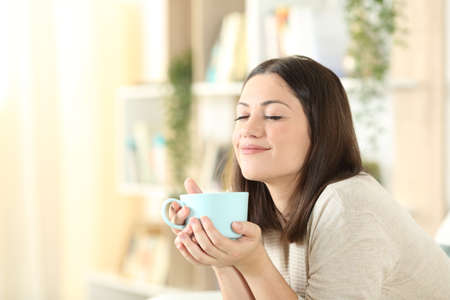 Satisfied woman relaxing holding coffee mug sitting on a couch in the living room at home Banque d'images