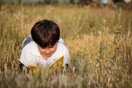 dutiful: little boy reading book in the nature, selective focus Stock Photo