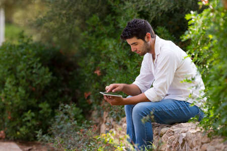 selective focus: men with digital tablet outdoors,selective focus