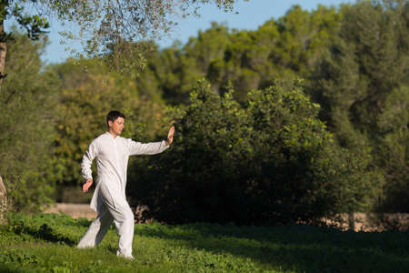caucasian young man doing Tai Chi in the park