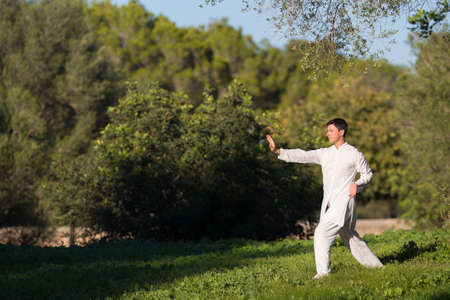 soul searching: young man doing Tai Chi in the park