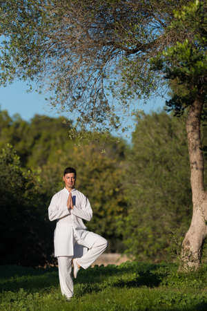 soul searching: young caucasian man doing yoga in the park, selective focus