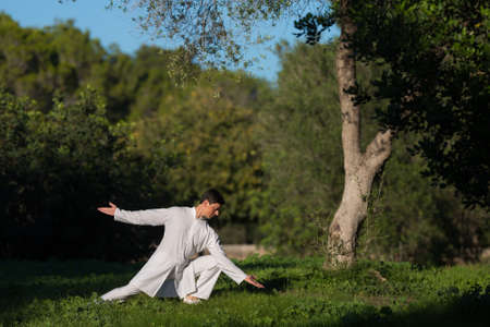 soul searching: man practicing Tai-Chi outdoors in the park, selective focus
