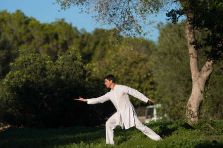 soul searching: white dressed man practicing Tai-Chi in the park,selective focus
