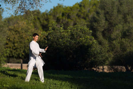 soul searching: young man practicing Tai-Chi in the park, selective focus Stock Photo