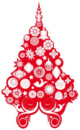 albero: albero di natale rosso e bianco