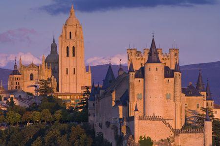 segovia: Alcazar in Segovia at dusk Stock Photo