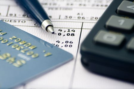 sheet accounts, notes, numbers, reports and economic data Stock Photo