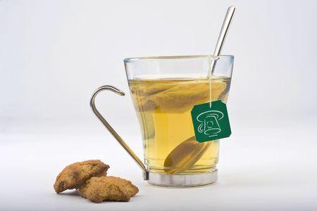 ot: hot cup ot tea isolated over white Stock Photo