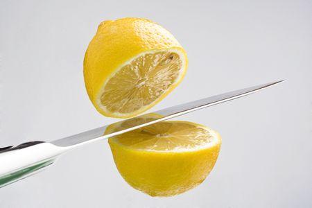 natural fresh lemon cut into two parts Stock Photo - 3737656