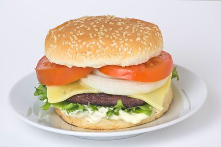 juicy hamburger meat lettuce tomato and onion mayonnaise Stock Photo - 3792321