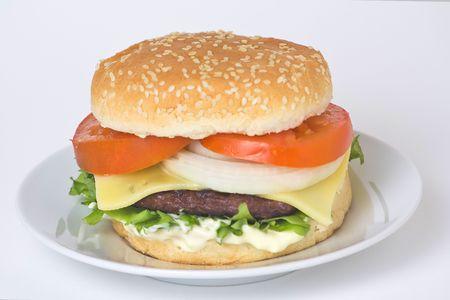 juicy hamburger meat lettuce tomato and onion mayonnaise Stock Photo - 3792321
