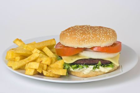 juicy hamburger meat lettuce tomato and onion mayonnaise Stock Photo - 3792320