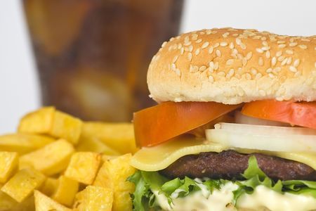 juicy hamburger meat lettuce tomato and onion mayonnaise Stock Photo - 3792328
