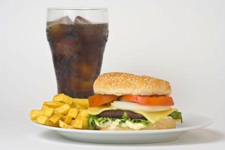 bread soda: juicy hamburger meat lettuce tomato and onion mayonnaise